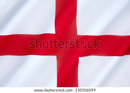 Flag of England - The association of the red cross as an emblem of England can be traced back to the Middle Ages. Used as a component in the design of the Union Flag in 1606.  - stock photo