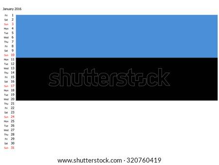 Flag of Estonia, 2016 calendar, January - stock photo