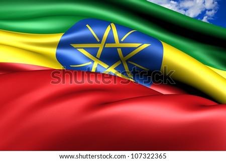 Flag of Ethiopia. Close up. - stock photo