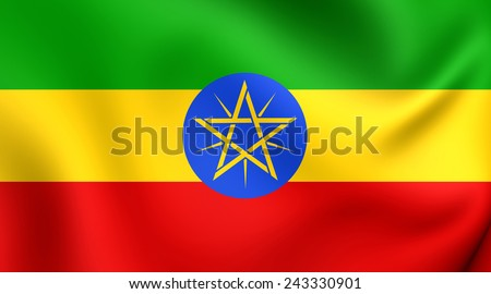 Flag of Ethiopia. Close Up.
