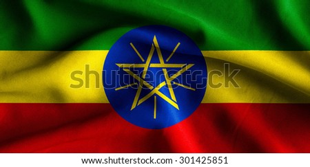 Flag of Ethiopia. Flag has a detailed realistic fabric texture.