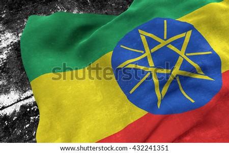 Flag of Ethiopia grunge concept. 3D illustration. - stock photo