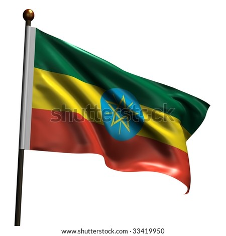 Flag of Ethiopia. High resolution 3d render isolated on white. - stock photo