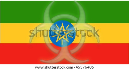 Flag of Ethiopia, national country symbol illustration health warning alert