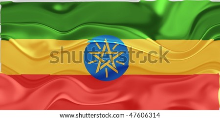 Flag of Ethiopia, national country symbol illustration wavy