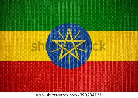 flag of Ethiopia or banner Ethiopian on canvas background