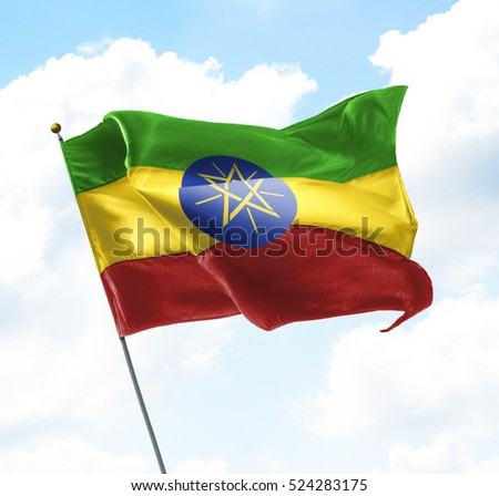 Flag of Ethiopia Raised Up in The Sky