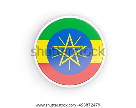Flag of ethiopia. Round icon with white frame.3D illustration