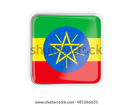 Flag of ethiopia, square icon with metallic border. 3D illustration