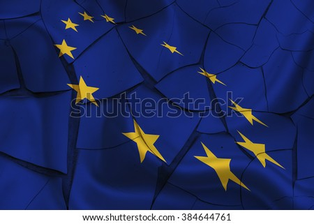 Flag of EU with 12 gold stars on a cracked paint wall. A symbol of a period of instability after several significant problems arise i.e. debt crisis, Britain's in/out referendum, refugee, inflation.