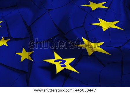 Flag of EU with yellow stars on a cracked wall and a star with a question mark. An uncertainty after UK's Brexit that could stimulate countries to leave or flee from the EU and could tear Europe apart - stock photo