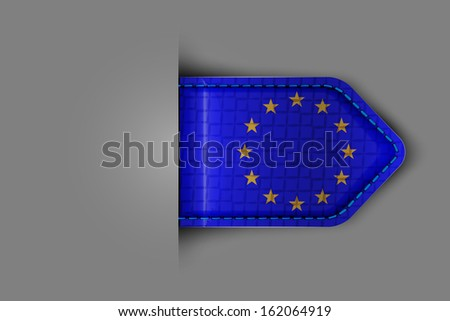 Flag of Europe in the form of a glossy textured label or bookmark.