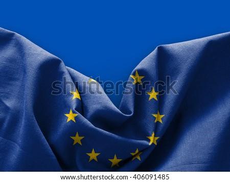 Flag of Europe on blue background - stock photo