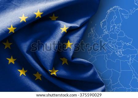 Flag of Europe on map background - stock photo