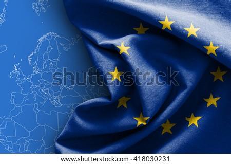 Flag of Europe on white background - stock photo
