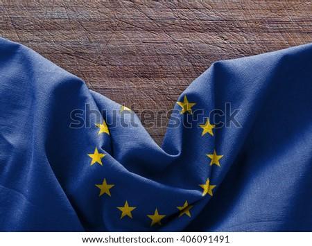 Flag of Europe on wood background - stock photo