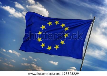 flag of europe union closeup - stock photo