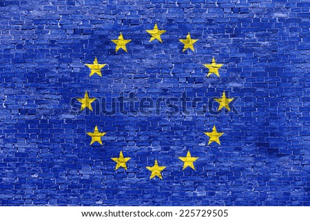 Flag of European Union over brick wall - stock photo