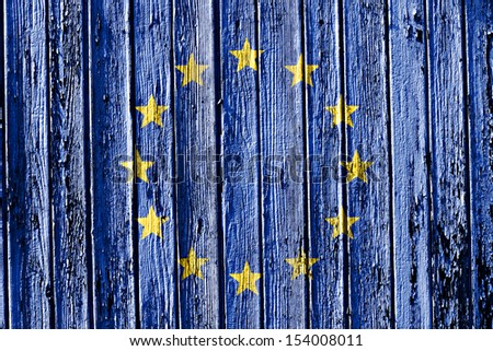 flag of European Union painted on wooden frame - stock photo