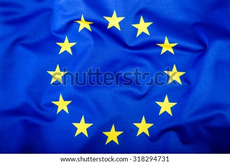 Flag of European Union waving in the wind. - stock photo