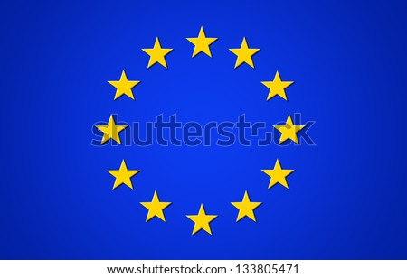 Flag of European Union,  yellow stars on a blue background