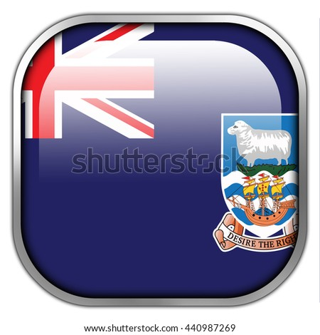 Flag of Falkland Islands, square glossy button - stock photo