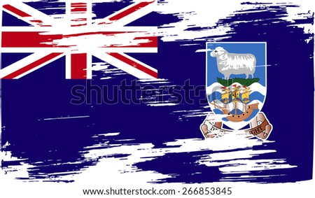 Flag of Falkland Islands with old texture.  illustration - stock photo