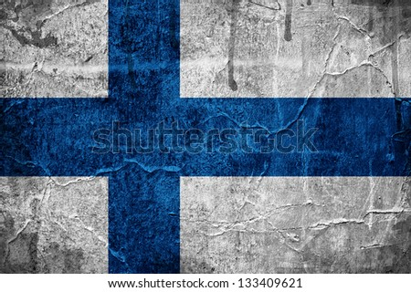 Flag of Finland overlaid with grunge texture - stock photo