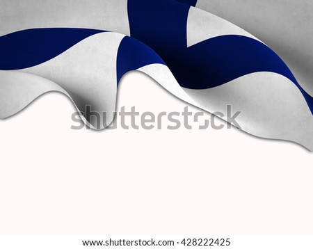 Flag of Finland waving on a white background