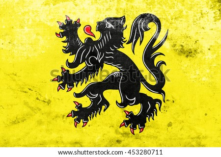Flag of Flanders, Belgium, with a vintage and old look - stock photo