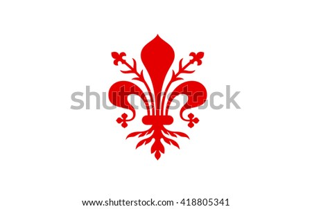 Flag of Florence is the capital city of the Italian region of Tuscany and of the Metropolitan of Florence - stock photo