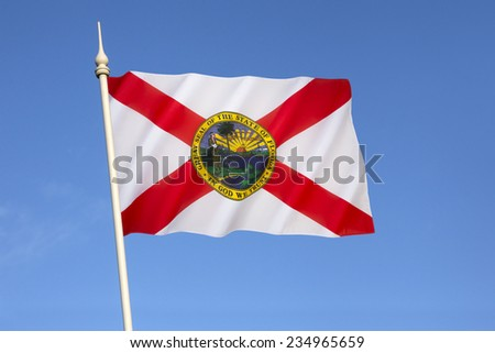 Flag of Florida - United States of America. The flag has a red saltire (St. Andrews Cross) on a white background, with the state seal in the center. The current design dates from 21st May 1985. - stock photo