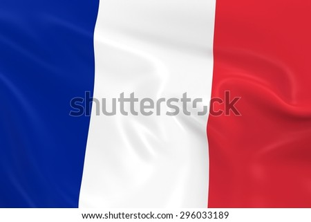 Flag of France - 3D Render of the French Flag with Silky Reflective Texture - stock photo