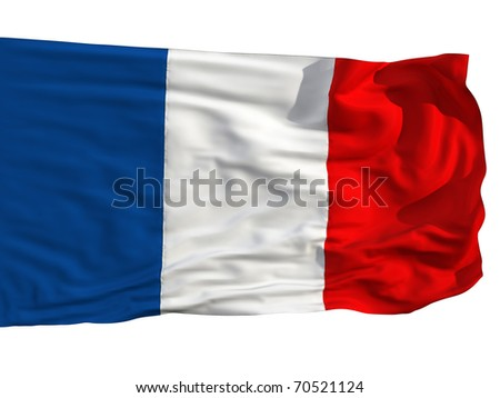 Flag of France, fluttered in the wind. Sewn from pieces of cloth, a very realistic detailed flags waving in the wind, with the texture of the material, isolated on a white background - stock photo