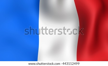 Flag of France, fluttering in the wind. It is different phases of the movement close-up flag in the wind. - stock photo