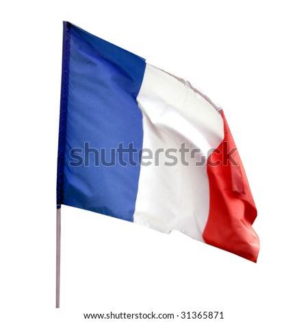 Flag of France isolated over white background - stock photo
