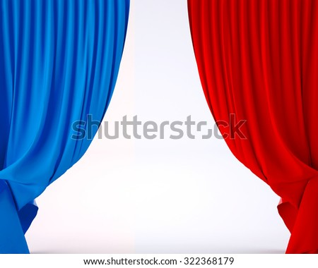 flag of France on a theater silk curtain, 3d illustration - stock photo