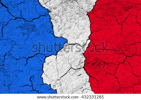 Flag of France on rugged wall full of scratches - metaphor of problem and crisis leading to collapse of country - economical bankruptcy, migration crisis, terrorism - stock photo