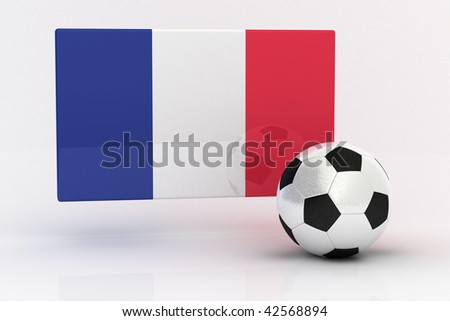 Flag of France with soccer ball