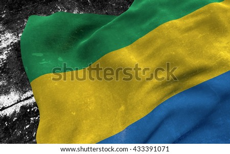 Flag of Gabon grunge concept. 3D illustration.