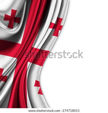 Flag of Georgia on silk curtain theater up white background - stock photo