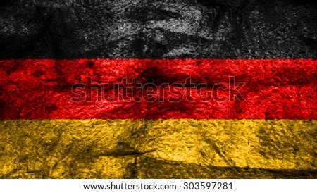 Flag of germany, German flag painted on wool texture. - stock photo
