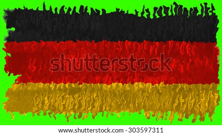 Flag of germany, German flag painted with brush on green background, pint texture - stock photo