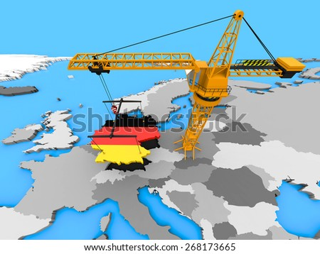 Flag of Germany in the shape of the country hanging on a crane over Europe - stock photo