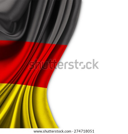 Flag of Germany  on silk curtain theater up white background - stock photo