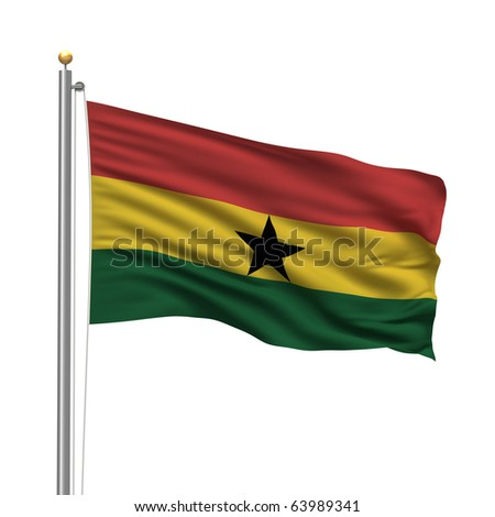 Flag of Ghana with flag pole waving in the wind over white background - stock photo