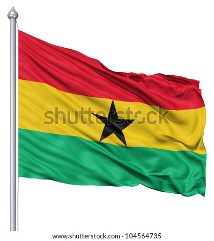 Flag of Ghana with flagpole waving in the wind against white background - stock photo