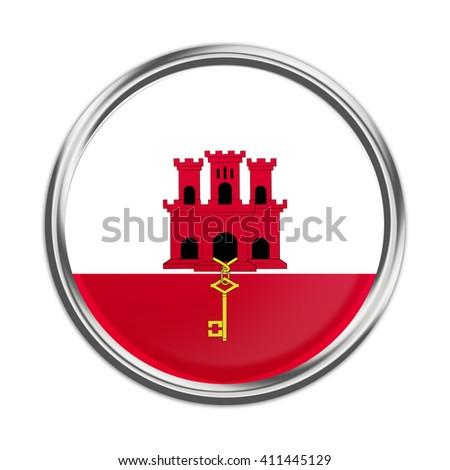 Flag of Gibraltar as round glossy icon.  - stock photo