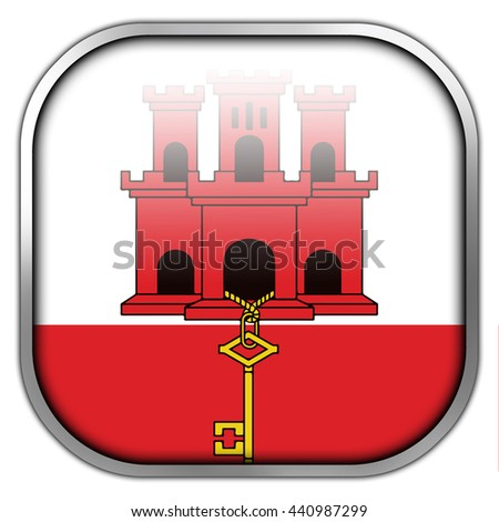 Flag of Gibraltar, square glossy button - stock photo