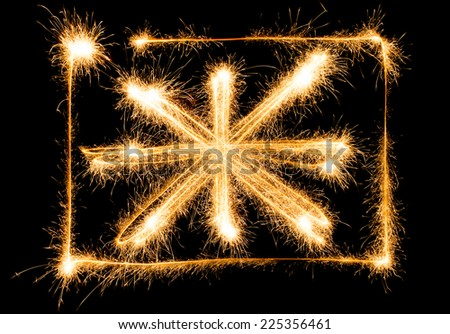 Flag of Great Britain made of sparkles on black background - stock photo